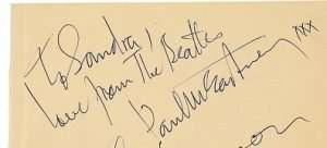 Paul McCartney autograph 1963