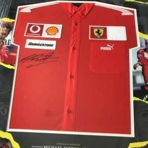 Michael Schumacher Autographed Ferrari shirt Custom Framed display
