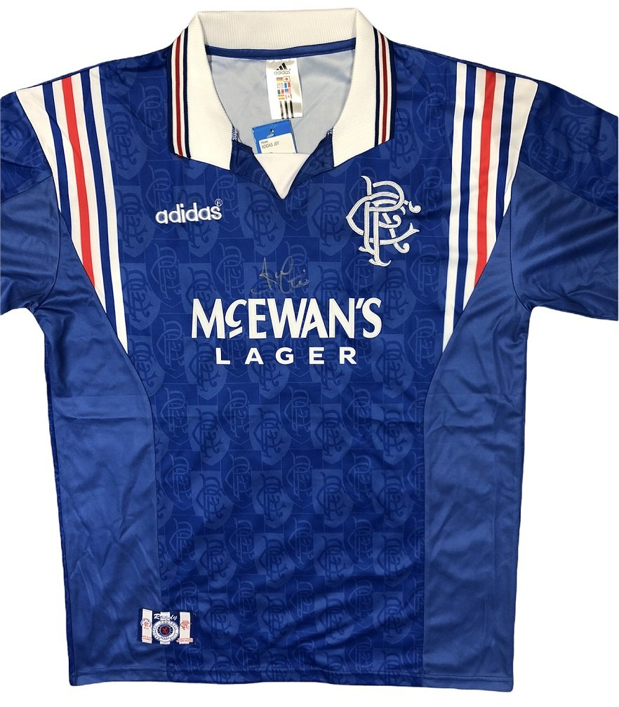 Ally McCoist 96-97 Rangers Shirt autographed in silver marker