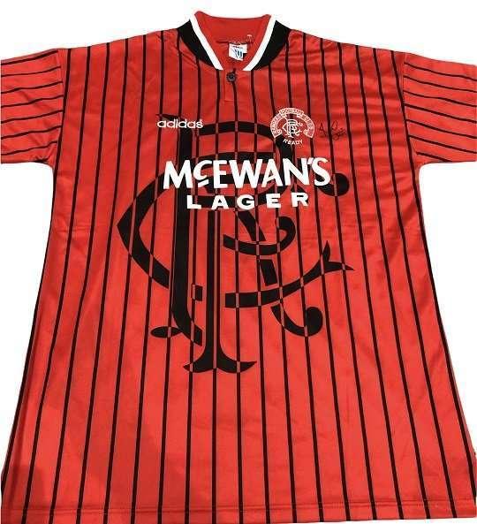Ally McCoist Autograph Rangers away football shirt 94-95