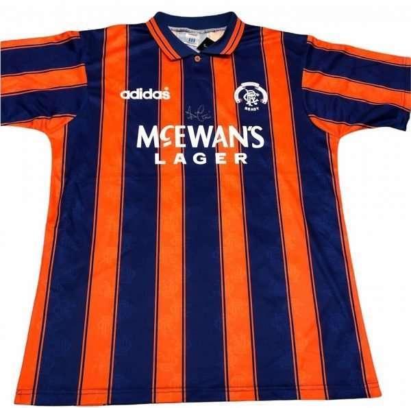 Ally McCoist Rangers Autographed away shirt 93-94 blue orange