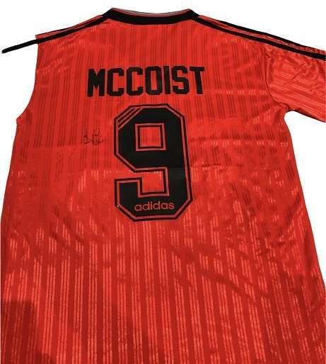 Ally McCoist Rangers signed Rear away football shirt 95-96 redwhite