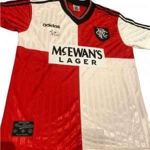Ally McCoist Rangers signed away football shirt 95-96 red/white