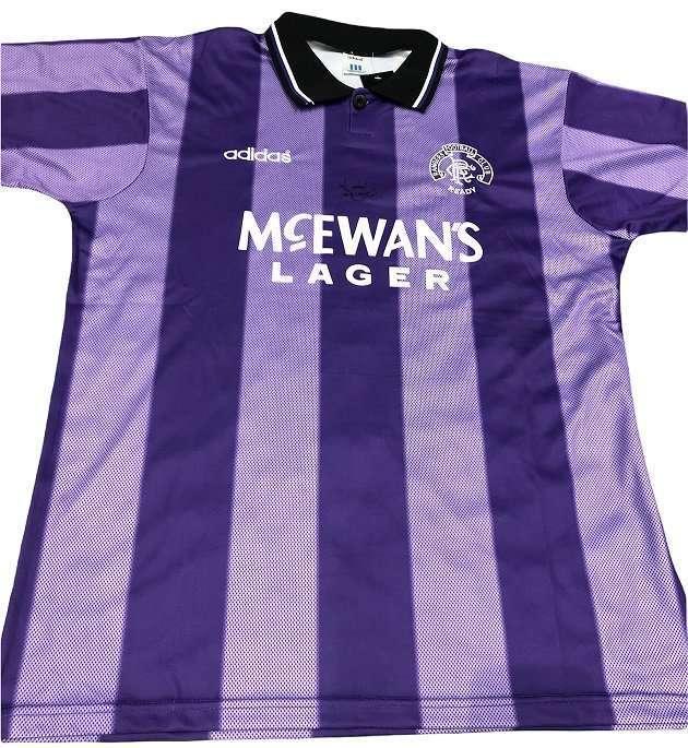 Ally McCoist signed European purple third shirt Glasgow Rangers 95-96
