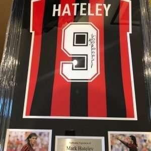 Mark Hateley Autographed Attila AC Milan football shirt Framed