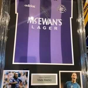 Mark Hateley Framed Autographed 1994-1995 Rangers Euro Football shirt