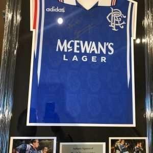 Paul Gascoigne Autographed Framed shirt Rangers football club